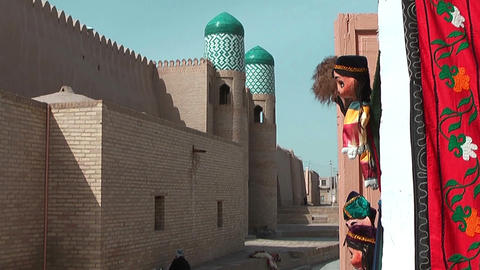 Historic Wall In The Inner City Of Khiva,Uzbekistan stock footage