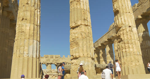 Selinunte, Hera Temple Front Staircase and Tourist Footage