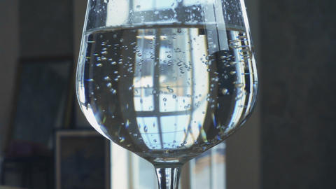 Water in the wineglass Footage