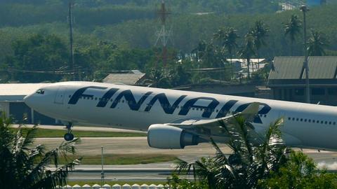 Finnair Airbus A330-300 landing in Phuket International Airport Footage