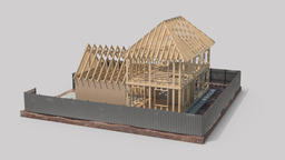 layout, wooden frame houses Animation