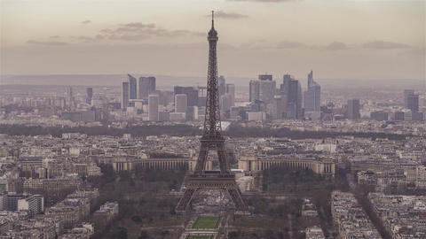 Paris, France, Timelapse - The Eiffel Tower before the Sunset Footage