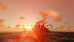 Modern city on ocean with sun behind, sunrise morning mist Animation