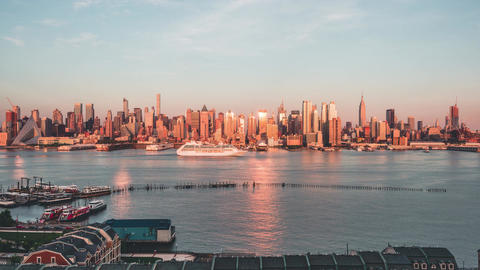 New York City , USA, Timelapse - The skyline of New York City at Sunset Footage