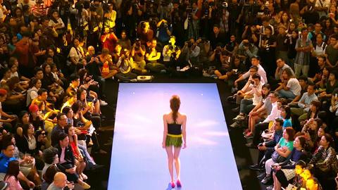 BANGKOK, THAILAND - 3 MAR 2016: attractive female model walks runway demonstrati Footage