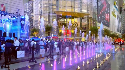 BANGKOK, THAILAND - 3 MAR 2016: amazing cascade fountain illuminated by colorful Footage