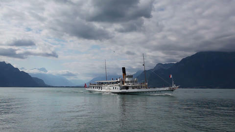 Old Passenger ferry on Geneva lake in Switzerland Footage