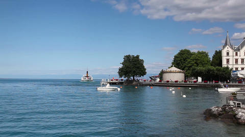 Port in Vevey at Geneva lake in Switzerland Footage
