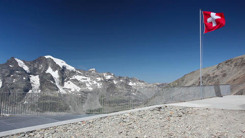 View from the Diavolezza to the mountains and glaciers Footage