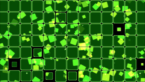 Glowing Tiles and Squares Background Animation - Loop Green Animation