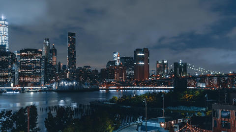 New York City , USA, Hyperlapse - Lower Manhattan at Night from Brooklyn Heights Footage
