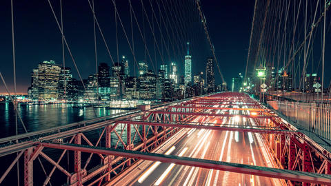 New York City , USA, Timelapse - Brooklyn Bridge at Night Footage