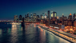 New York City , USA, Timelapse - New York City from Manhattan Bridge Footage
