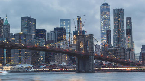 New York City , USA, Timelapse - Brooklyn Bridge from day to night | New York Ci Footage