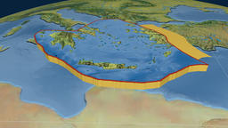 Aegean Sea tectonic plate. Topography Animation