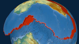 Africa tectonic plate. Relief Animation