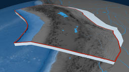 Altiplano tectonic plate. Elevation and bathymetry Animation