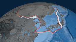 Amur tectonic plate. Elevation and bathymetry Animation
