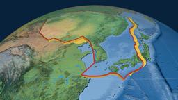 Amur tectonic plate. Natural Earth Animation