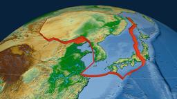 Amur tectonic plate. Physical Animation