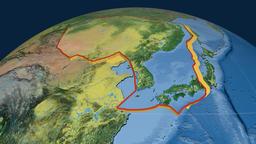 Amur tectonic plate. Topography Animation