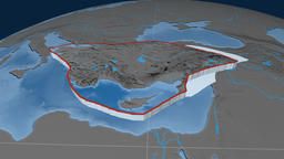 Anatolia tectonic plate. Elevation and bathymetry Animation