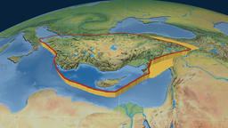 Anatolia tectonic plate. Natural Earth Animation