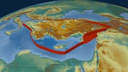 Anatolia tectonic plate. Relief Animation