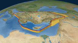 Anatolia tectonic plate. Satellite imagery Animation