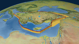 Anatolia tectonic plate. Topography Animation