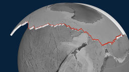 Antarctica tectonic plate. Elevation Animation