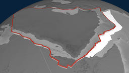 Arabia tectonic plate. Elevation Animation