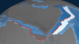 Arabia tectonic plate. Elevation and bathymetry Animation