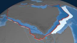 Arabia tectonic plate. Elevation and bathymetry Animation