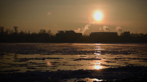 Breaking Of The Ice On The River Danube Filmmaterial