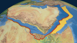 Arabia tectonic plate. Natural Earth Animation
