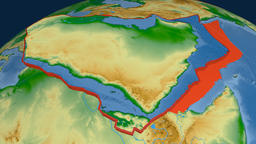 Arabia tectonic plate. Physical Animation