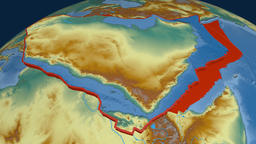 Arabia tectonic plate. Relief Animation