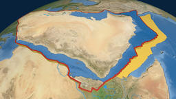 Arabia tectonic plate. Satellite imagery Animation