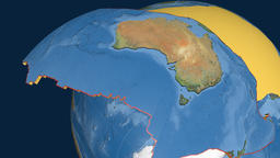 Australia tectonic plate. Satellite imagery Animation