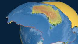Australia tectonic plate. Topography Animation