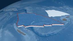 Balmoral Reef tectonic plate. Elevation and bathymetry Animation
