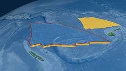Balmoral Reef tectonic plate. Topography Animation