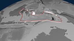 Banda Sea tectonic plate. Elevation Animation