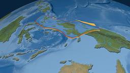 Birds Head tectonic plate. Satellite imagery Animation
