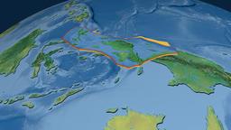 Birds Head tectonic plate. Topography Animation