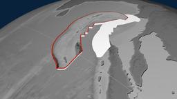 Burma tectonic plate. Elevation Animation