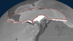 Caribbean tectonic plate. Elevation Animation