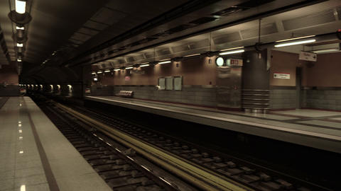 Panning view of an underground metro terminal station Footage