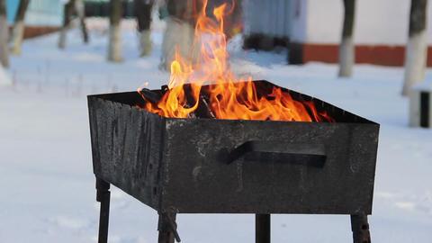 winter barbeque fire ビデオ